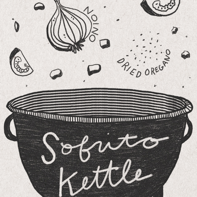 "Illustrated image of what goes into Chipotle Sofritas with ingredients (onion, tofu, oregano, tomato) falling into a kettle that says ""sofrito kettle"""