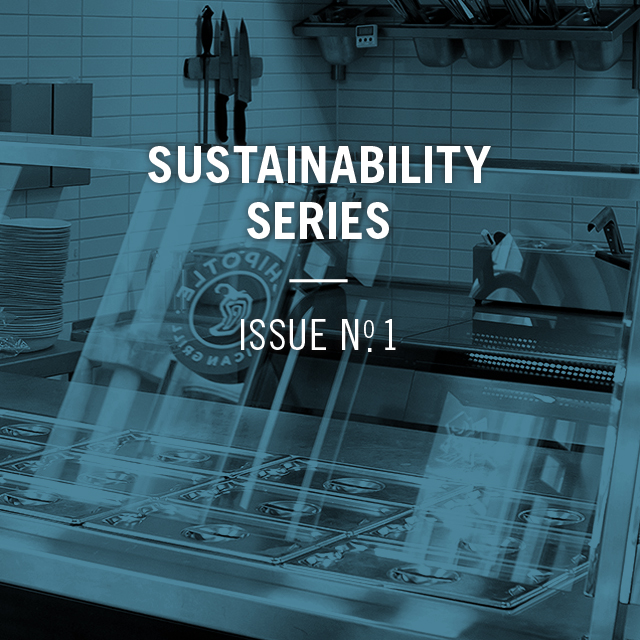 sustainability series number one with an image of a chipotle restaurant counter