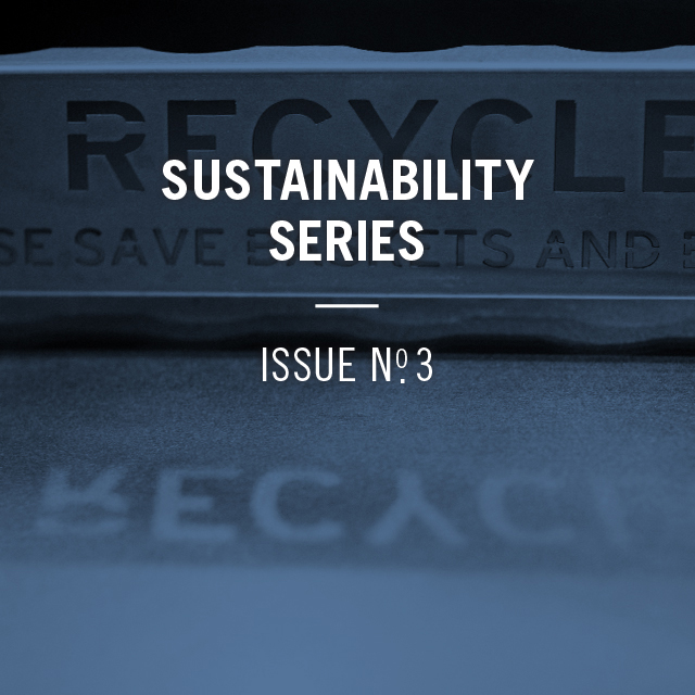 Sustainability series issue number 3, with am image of a Chipotle Recycling bin