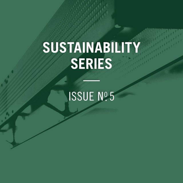 Sustainability Series Issue Number 5, with an image of a light from a restaurant