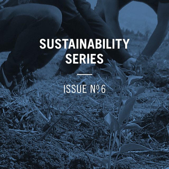 Sustainability Series Issue Number 6, with an image of people weeding a field