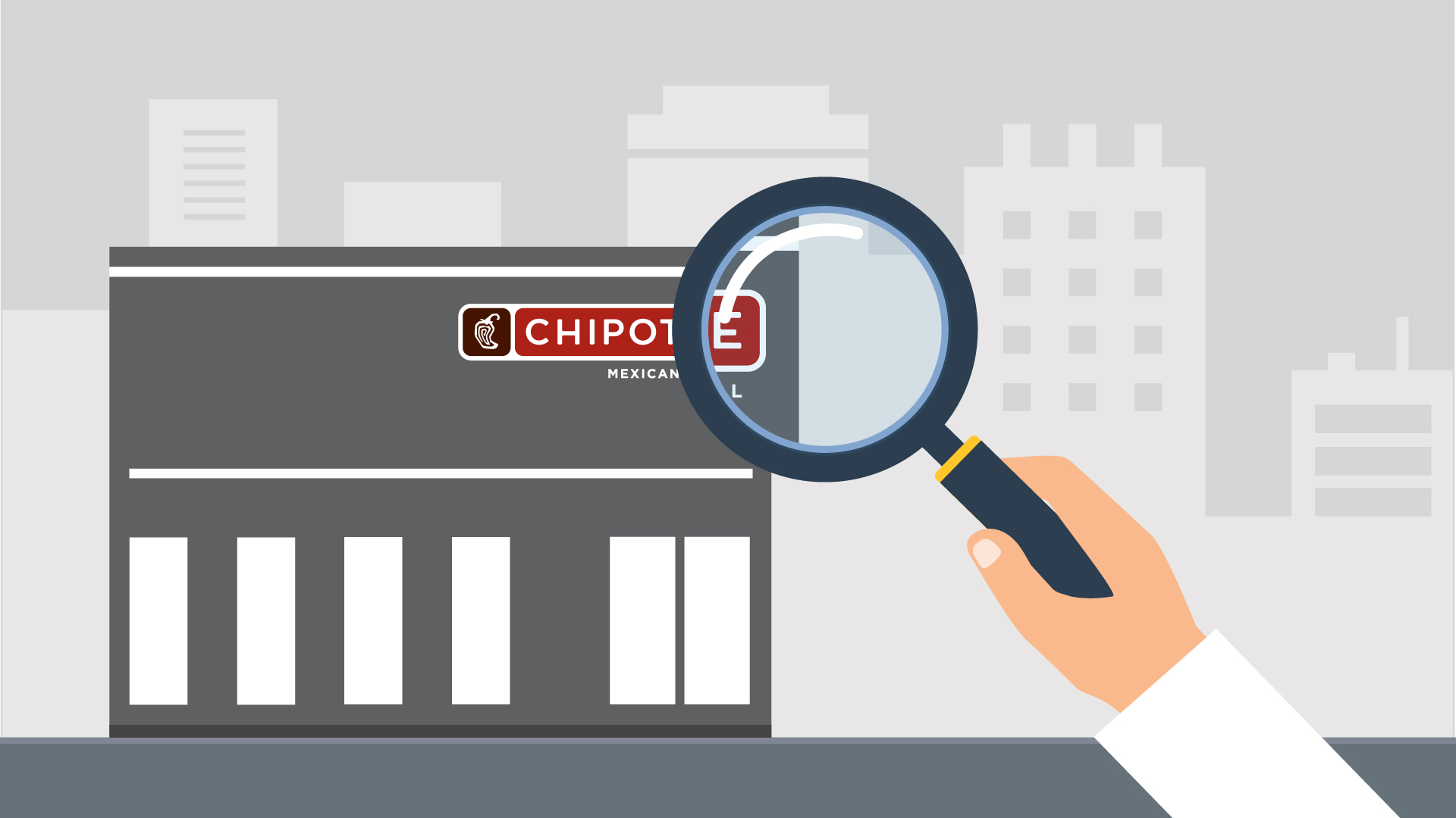 graphic drawing of a chipotle restaurant building under a magnifying glass