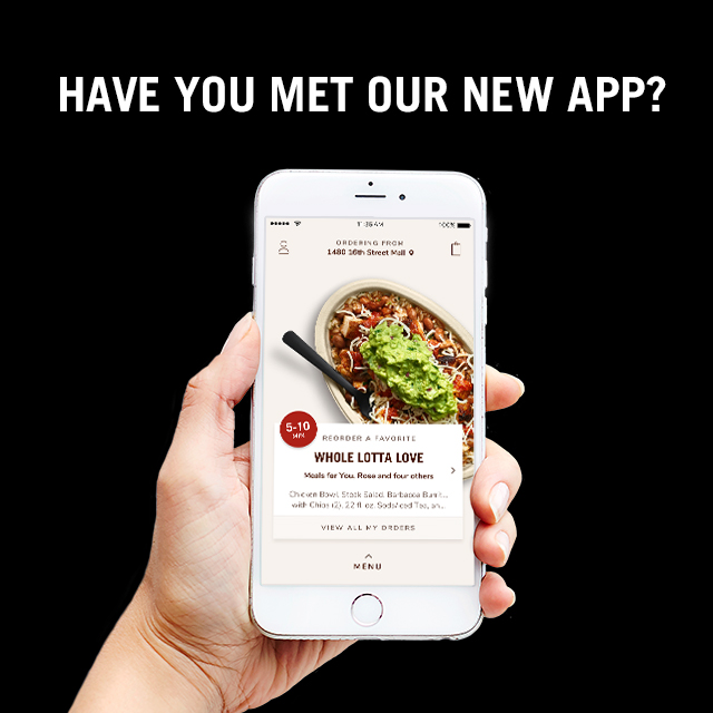 A smartphone with the screen displaying the Chipotle app ordering screen