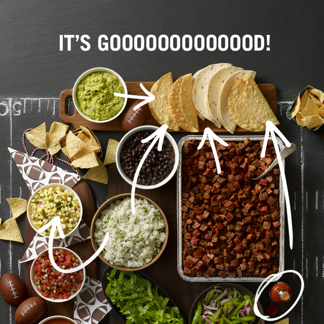 photo of catering spread promoting 2018 superbowl