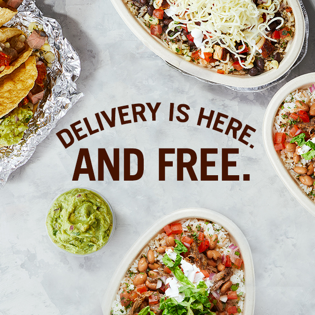 photo of a burrito on wheels promoting chipotle's delivery options